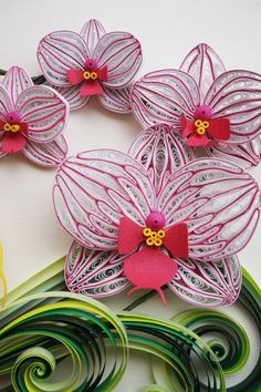 Handmade paper quilling Orchids framed in shadow by SinyeeCraft