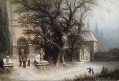 Procession on a Snowy Monastery 1887 Albert Bredow. (Note: Bredow, 1828-1899, Russian landscape and genre painter. — A...