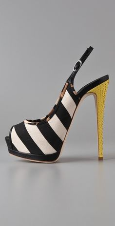 yellow & black & white & stripes... Giuseppe Zanotti nails a sling for hot busy bees on the go!