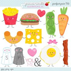 Perfect Pair V2 Clipart - JW Illustrations - things that go together - cute pairs - hamburger & fries, peas & carrots, mac & cheese, salt & pepper, bacon & eggs