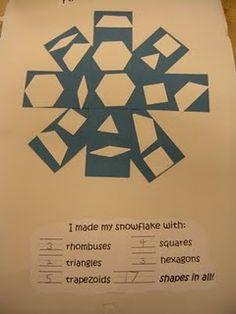 blue rectangles, white pattern block shapes=snowflake