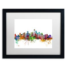 Seattle Washington Skyline by Michael Tompsett Framed Graphic Art