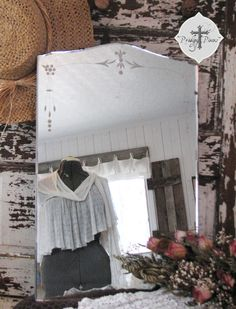 Lovely Frameless Antique Etched Large Mirror - Shabby Chic Style