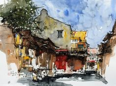 """Small Lane, Lebuh Carnarvon, Penang"" by Kiah Kiean Watercolor Art Landscape, Pen And Watercolor, Watercolor Paintings, Street Pictures, Water Pictures, Art Thou, Urban Sketchers, Urban Landscape, Gravure"