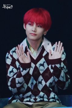 V . Cre: the owner/as logo Taehyung Red Hair, V Taehyung, Asia Artist Awards, Army Love, Handsome Faces, Worldwide Handsome, Korean Music, Daegu, Most Beautiful Man