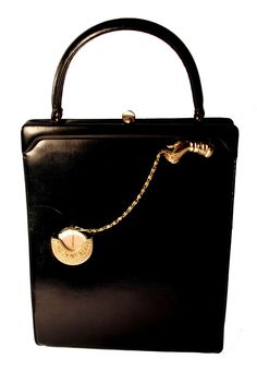 "1950s Rosenfeld Black Leather Handbag with ""Time on My Hands"" Pocket Watch."
