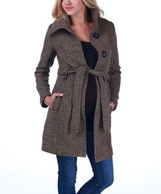 Really.....take a look at this Brown Tie-Waist Maternity Coat by PinkBlush Maternity on #zulily tally....today!