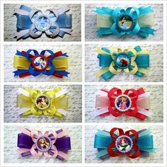 "Disney Princess Bows 4"" Party Favors Cinderella Ariel Snow White Belle Aurora Beauty and the Beast Mulan Sofia the First Jasmine Merida Rapunzel Tangled Brave Birthday #LaPrincesseBows"