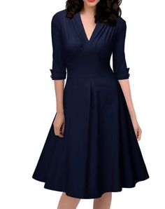 Check the details and price of this Navy Half Sleeve High Waist Swing Midi Dress (Navy Blue, VICONE) and buy it online. VIPme.com offers high-quality Swing Dresses at affordable price.