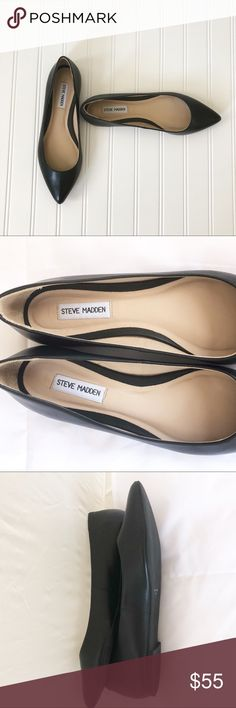 Steve Madden Black Flats Never Worn Sz 9M Never worn Steve Madden Black Flats Leather Upper and Sole Top Steve Madden style, quality and design Versatile staple item for any closet 100999 Steve Madden Shoes Flats & Loafers