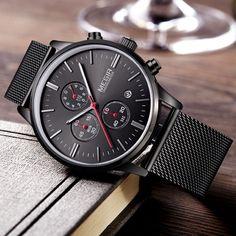 Fashion simple stylish Top Luxury brand MEGIR Watches men Stainless Steel Mesh strap band Quartz-watch thin Dial Clock //Price: $47.80 & FREE Shipping // #hashtag2