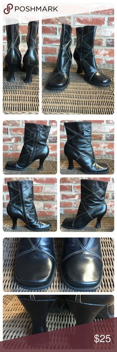 """Two Lips leather booties Great black leather booties with exposed white stitching. Heel measures 3.5"""" top width about 5"""".  No signs of wear. Made in Brazil. Two Lips Shoes Ankle Boots & Booties"""