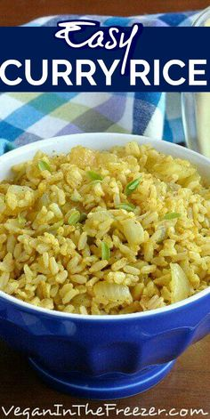 Curry Rice is made with curry powder and is super simple. It's vegan recipe it and also has onions bell peppers and peas included. All under 30 min. Fast Dinner Recipes, Vegan Recipes Easy, Vegetarian Recipes, Cooking Recipes, Simple Rice Recipes, Chickpea Recipes, Keto Recipes, Rice Side Dishes, Food Dishes