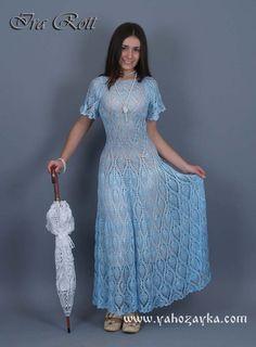 Платье узором ананасы с расклешенной юбкой. Схемы вязания крючком женского летнего платья