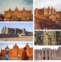 Великая мечеть Дженне, Мали, Африка.  Самое крупное глинобитное здание в мире. Первая мечеть на этом месте была построена в 13 веке, но нынешнее строение относится к 1907 году. Мечеть возведена на платформе 75*75 метров, на три метра возвышающейся над рынком. Здание возведено из сырцового кирпича – кирпича из необожженной глины, и покрыто глиняной штукатуркой, что делает стены мечети похожими на поверхность скульптур. Снаружи мечеть украшена деревянными шипами.