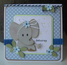 Handmade card by DT member Boukje with Collectables Eline's Elephant (COL1384), Craftables Basic Passe Partout Square (CR1359) and Creatables Build a Rose (LR0398) from Marianne Design