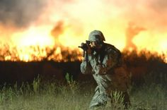 Infantry soldier in field.
