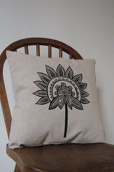 simply beautiful! lino cut and printed on a natural unbleached linen cushion cover...