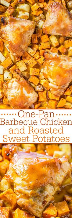 One-Pan Barbecue Chicken and Roasted Sweet Potatoes - Juicy chicken and tender potatoes roasted on one pan!! The barbecue sauce keeps everything super moist and flavorful!! Fast, easy, and zero cleanup!