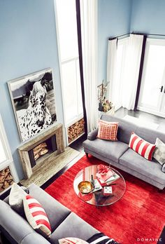 Love that punch of color from the rug. Exclusive:+Tour+Jessica+Alba's+Gorgeous+Guest+House+via+@domainehome