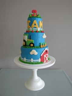 Tractor & Farm Birthday Cake By mdgosnell on CakeCentral.com