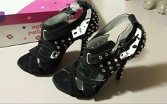 New Not Rated Brand Black Tough Cookie Women's Size 6 Metal Studded Stilettos  #NotRated #Stilettos