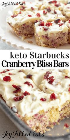 Cranberry Bliss Bars - Low Carb Keto THM S Gluten-Free - This delightful keto fall treat is reminiscent of the famous cranberry bliss bars sold at Starbucks with cranberries hints of orange and ginger and cream cheese icing. Healthy Low Carb Recipes, Low Carb Keto, Keto Recipes, Dessert Recipes, Cranberry Recipes Low Carb, Dinner Recipes, Cookie Recipes, Keto Cookies, Cookies Et Biscuits
