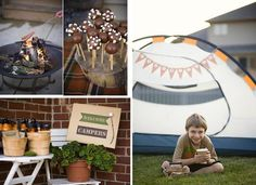 Camping Party...love these pictures & ideas. Maybe when Logan is a bit older we could set up tents in the backyard!