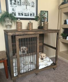 29 Awesome Dog Crate Food And Water Bowl Dog Crates Beds For Medium Dogs - Dog kennel indoor Diy Dog Stuff, Niche Chat, Dog Crate Furniture, Furniture Dog Kennel, Furniture Plans, Furniture Removal, Office Furniture, Diy Dog Crate, Dog Crate Cover