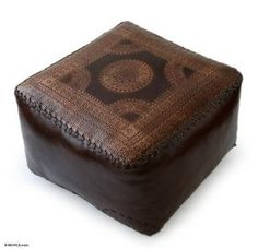 Brazilian Moon Rustic Tooled Leather Pouf Ottoman Cover (4 Needed for floor seating)