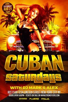 Cuban Party Flyer Template - http://xtremeflyers.com/cuban-party-flyer-template/ Cuban Party Flyer Template PSD   Cuban Party Flyer Template PSD was designed to advertise any kind of event related latin night, especially for a Cuban theme party.  The design is well sorted in folders, and all the elements can be removed or rearranged as you please. You don't need a good #Club, #Cuban, #Flyer, #Latin, #Psd, #Template, #Tropical