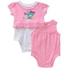 Garanimals Newborn Baby Girl Pointelle Tank Bodysuit and Peplum Graphic Bodysuit/Tee Set, Size: 3 - 6 Months, Pink
