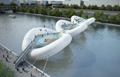 Trampoline Bridge - okay, so Jerry Lewis is ain't. But dammit, these Frenchies are having fun!
