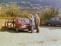An elegant German couple in front of their Volkswagen K 70 in the year 1976. This picture was taken while they were taking a break on their holiday tour of South Tyrol. The K 70 had a 1.6-litre-engine with 74 HP and the front seats had adjustable backs, which made it a luxury to travel in this Volkswagen.