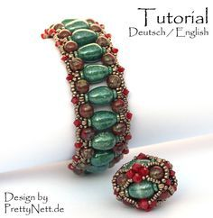 "Beading Pattern (15 pages, with photos and text) in pdf-format for a bracelet and beaded bead Balrade. ""Balrade"" is a bracelet of about ca. 2,5 cm"