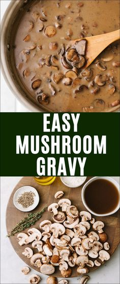 Home Decorating Style 2020 for Easy Mushroom Gravy (Vegetarian/Vegan Optional!), you can see Easy Mushroom Gravy (Vegetarian/Vegan Optional!) and more pictures for Home Interior Designing 2020 at COOKING. Vegetarian Gravy Recipe, Vegetarian Mushroom Gravy, Easy Gravy Recipe, Vegan Gravy, Vegan Recipes, Chicken With Mushroom Gravy Recipe, Vegan Thanksgiving, Everyday Food, Holiday Recipes