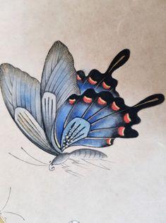 Korean Painting, Chinese Painting, Chinese Art, Disney Drawing Tutorial, Flower Drawing Tutorials, Butterfly Wallpaper, Butterfly Art, Butterflies, Iranian Art