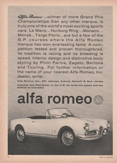 1962 Alfa Romeo - winner of more Grand Prix championships - vintage ad