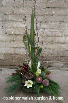 Winter floral arrangement by Goldner Walsh, Pontiac, MI.