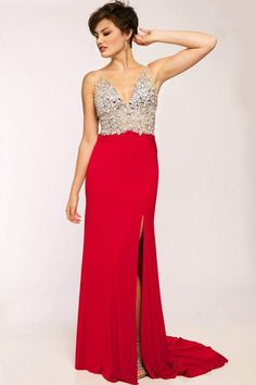 b002bd936a Jovani - Jeweled V-Neck Jersey Sheath Dress JVN86957. Prom DressesFormal ...