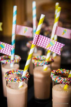 Rainbow sprinkles on Chocolate milk. This would be perfect for a sleepover breakfast or pancakes & pajamas party | http://breakybreakfastsjany.blogspot.com