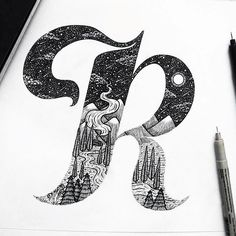 Awesome R letterforms by @menis_art #Designspiration #thatgoodtype - View this on https://www.instagram.com/Designspiration/