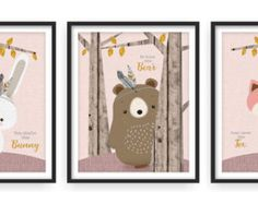 Woodlands Nursery, Giclee Print, Print Set, Forest Animal Set, Nursery Art, Forest Friends, Nursery Forest Decor, Fox Bear Bunny, Rustic -       Edit Listing   - Etsy