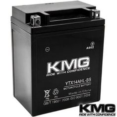 Kmg® YTX14AHL-BS Battery For Kawasaki 1000 KZ1000-G Classic 1980 Sealed Maintenace Free 12V Battery High Performance SMF OEM Replacement Powersport Motorcycle ATV Snowmobile Watercraft, Black