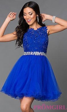 Short Tulle Lace Top Homecoming Dress at PromGirl.com