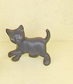 Tiny Black Cat  Kitten Figurine