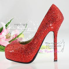 New Red Wedding Shoes Handmade Sparkly High by KissCrystalShoes 3748b1b64e56