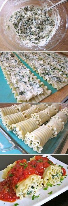 Skinny Spinach Lasagna Rolls:
