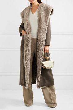 Light-brown cashmere, taupe shearling Button fastening at front Fabric1: 100% cashmere; fabric2: 100% shearling Specialist clean Designer color: Turtle Dove  Made in Italy