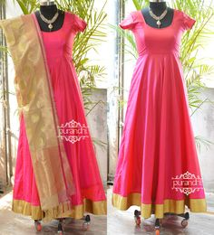 Floor length anarkali paired up with half white benaras dupatta customized for Santhoshi from USA !!! For more details contact  at purandhistore@gmail.com What s app : 9063534017
